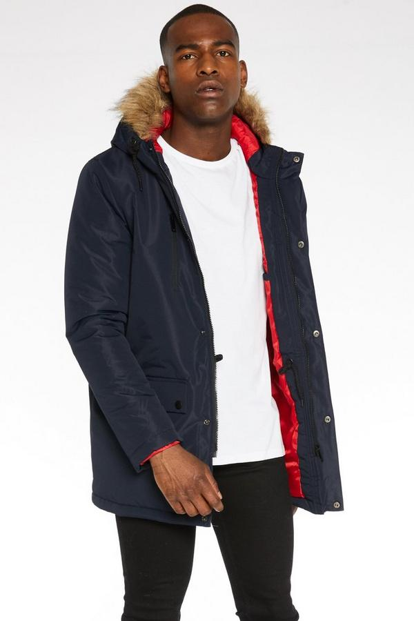 Hooded Parka Jacket in Navy