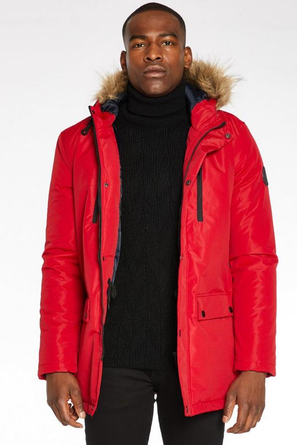 Hooded Parka Jacket in Red