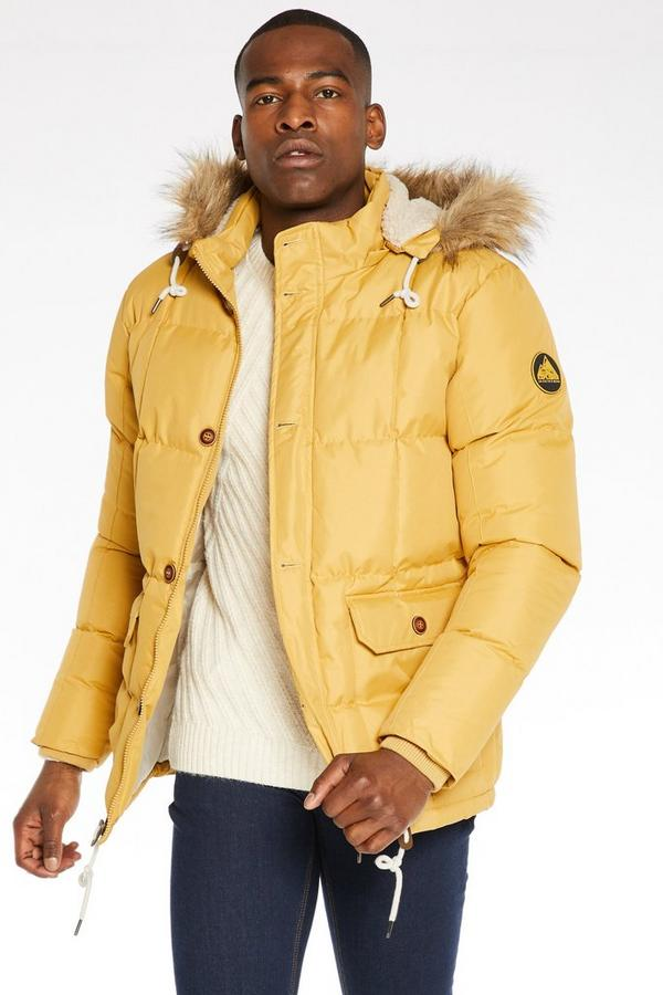 Button Through Fur Hooded Parka In Mustard