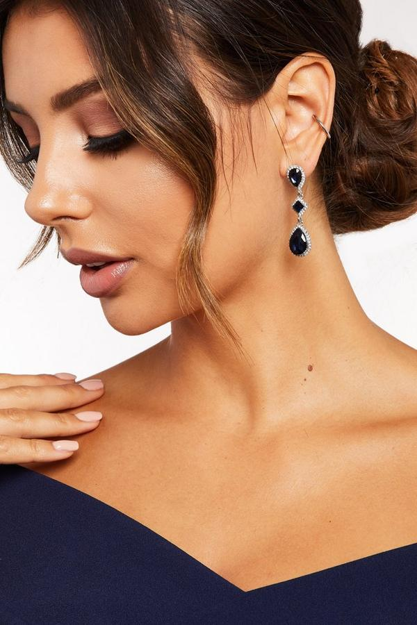 Navy Triple Jewel Drop Earrings