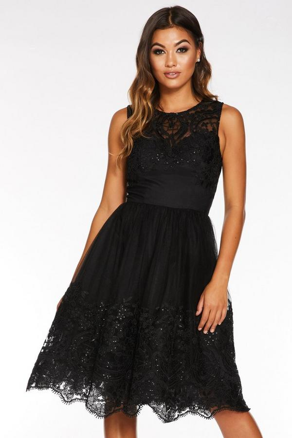 Black Sequin Embroidered Sweetheart Midi Dress