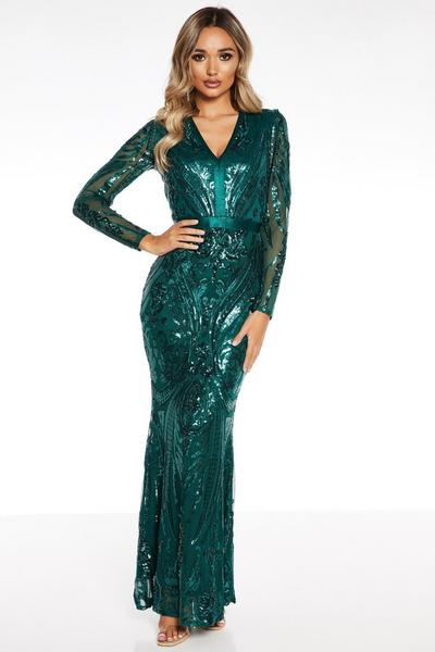 Green Sequin Long Sleeve Fishtail Maxi Dress