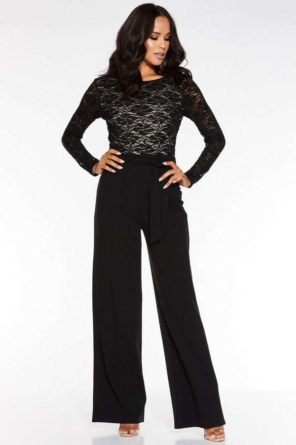 Black and Stone Lace V Back Palazzo Jumpsuit