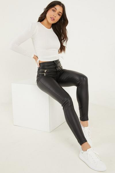 Black Faux Leather Zip Detail Skinny Trousers