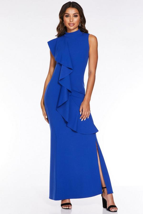 Royal Blue Frill Split Maxi Dress
