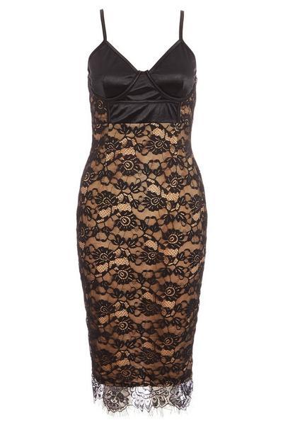 Black Satin Lace Strappy Midi Dress