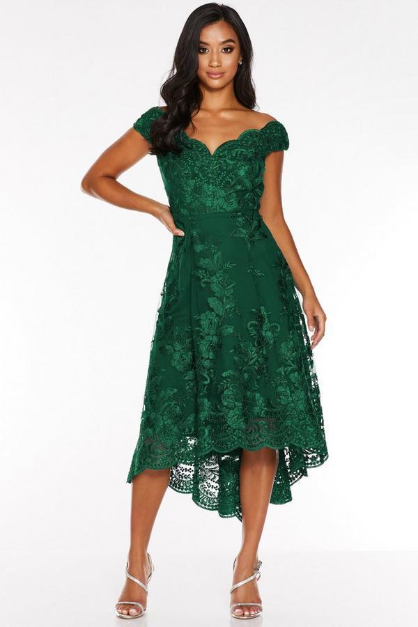 Petite Bottle Green Lace Embroidered Off The Shoulder Dip Hem Dress