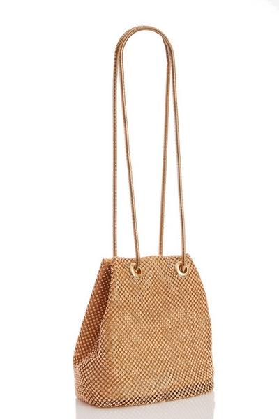 Gold Diamante Chain Pouch Bag
