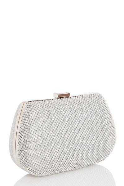 Silver Diamante Front Box Bag