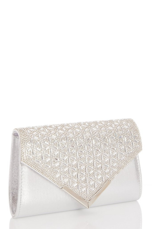 Silver Jewel Cluster Envelope Bag