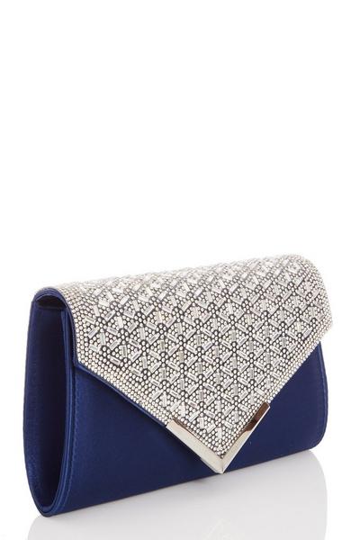 Navy Jewel Cluster Envelope Bag