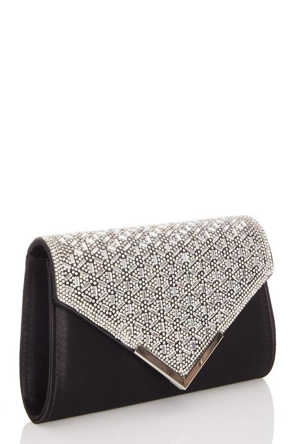 Black Jewel Cluster Envelope Bag