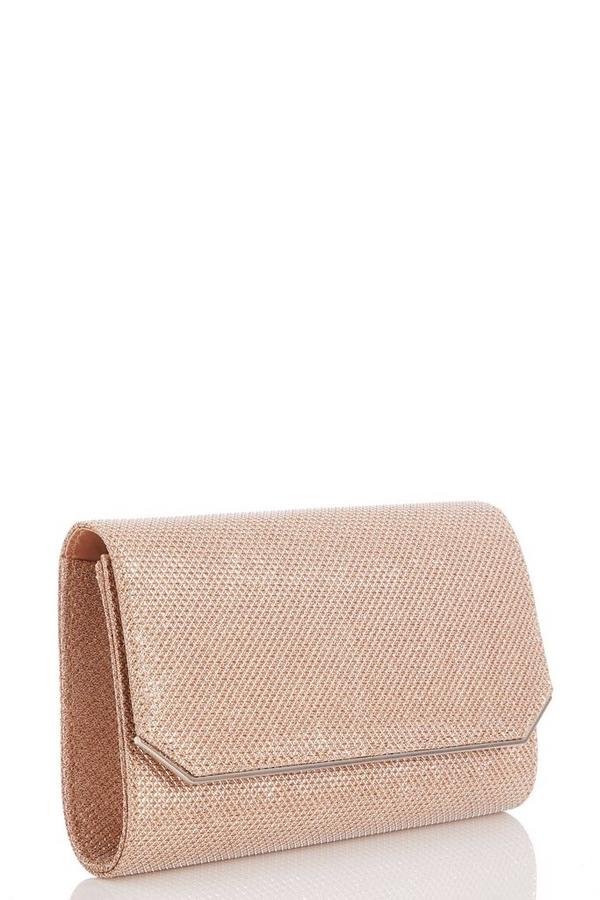Rose Gold Textured Shimmer Clutch Bag
