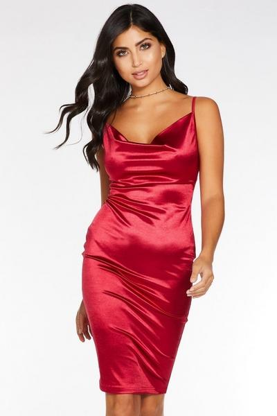 Berry Cowl Neck Bodycon Midi Dress