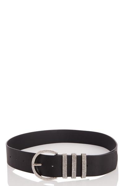 Black Diamante Buckle Belt