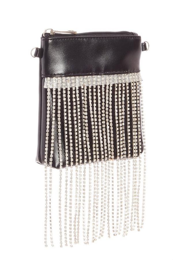 Black Diamante Tassel Bag