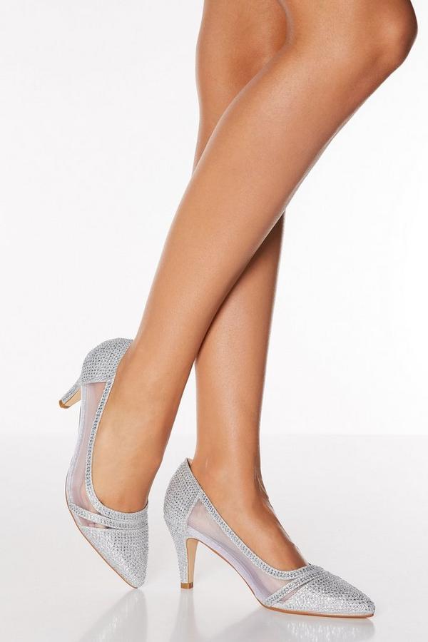 Silver Diamante Mesh Mid Heel Courts