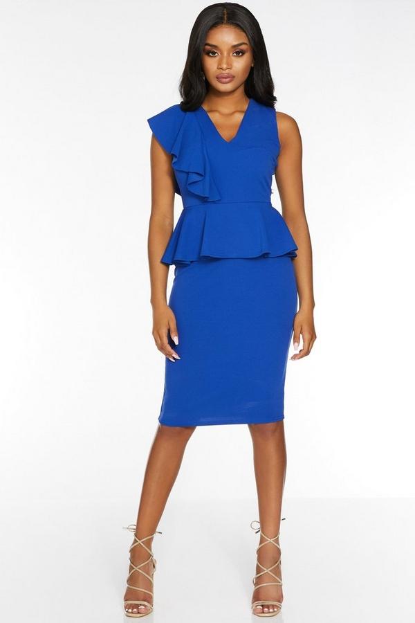 Petite Royal V Neck Peplum Midi Dress