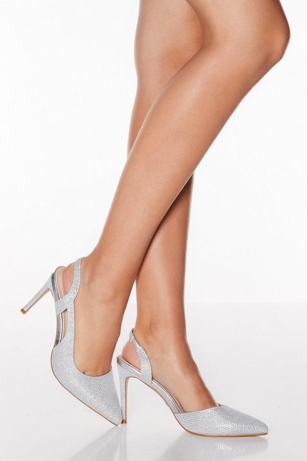 Silver Shimmer Point Toe Slingback Heels