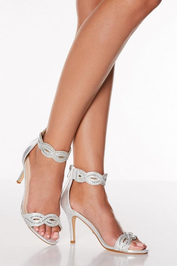Silver Satin Twist Diamante Mid Heel Sandals