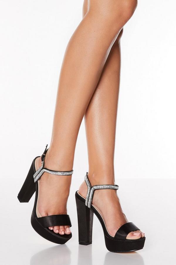 Black Satin Diamante Block Heeled Sandals