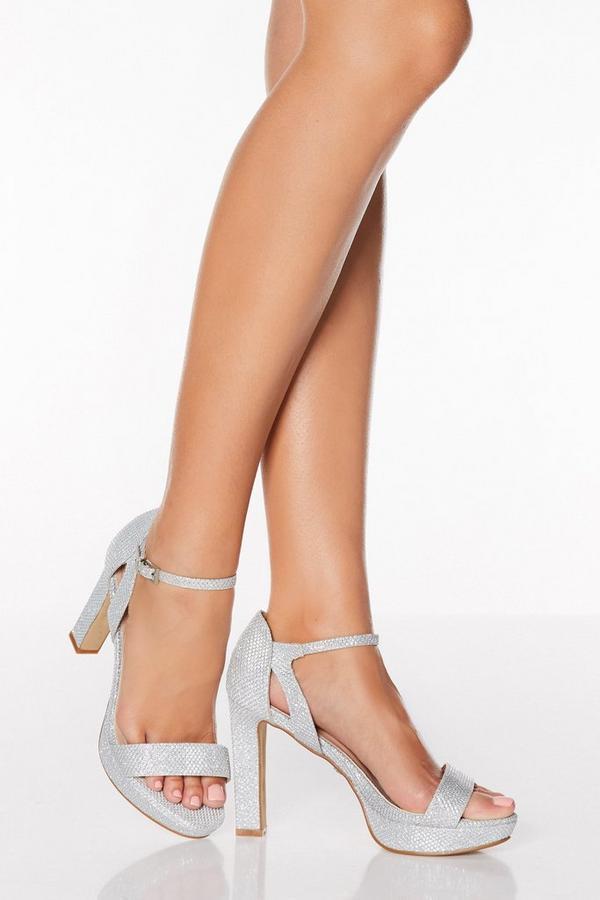 Silver Shimmer High Heeled Sandals