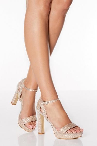 Rose Gold Shimmer High Heeled Sandals
