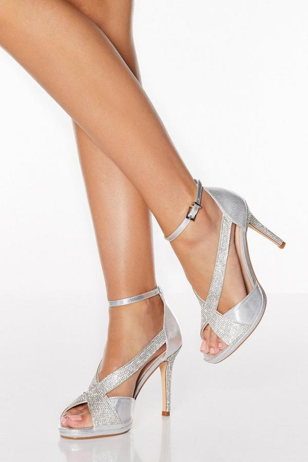 Silver Shimmer Diamante Cross Strap Heeled Sandals