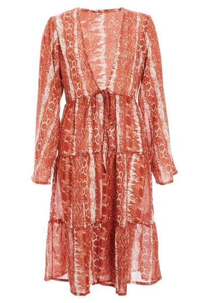 Rust Snake Print Beach Kimono