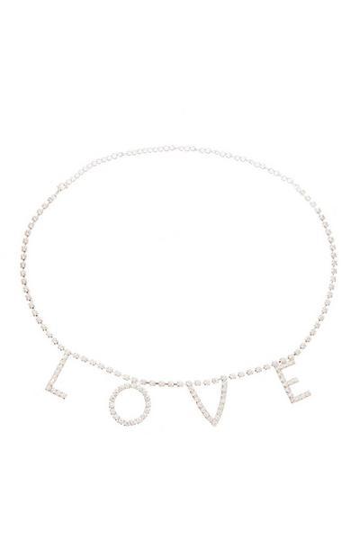 Silver Diamante Love Belt