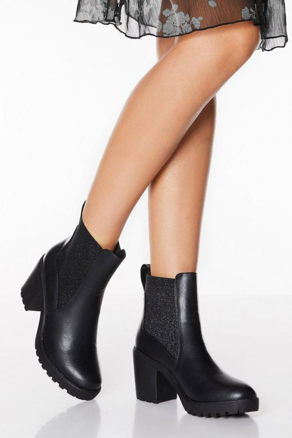 Black Faux Leather Glitter Chunky Heel Boots