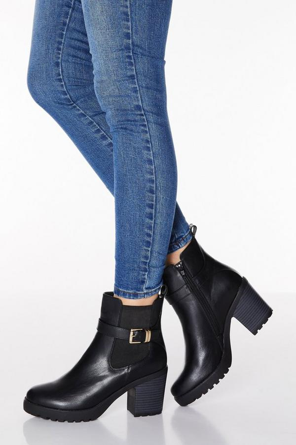 Black Faux Leather Buckle Chunky Heel Boots