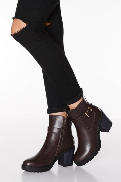 Brown Faux Leather Buckle Chunky Heel Boots