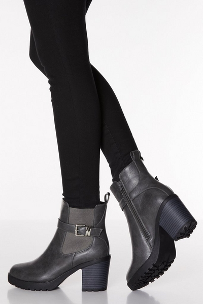Grey Faux Leather Buckle Chunky Heel Boots