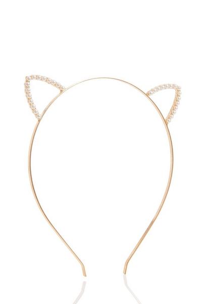 Gold Pearl Cat Ear Headband