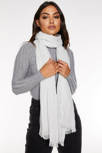 Silver Shimmer Pleated Scarf