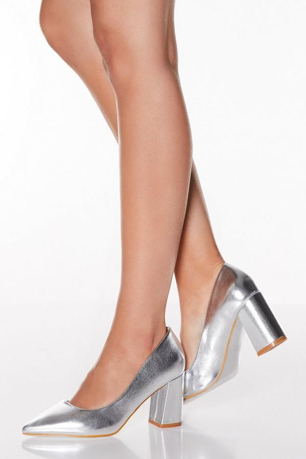 Silver Flare Heel Point Toe Court Shoes