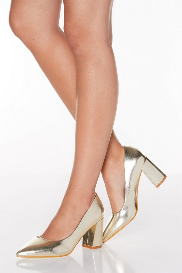 Gold Flare Heel Point Toe Court Shoes
