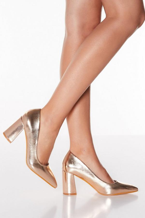 Rose Gold Flare Heel Point Toe Court Shoes
