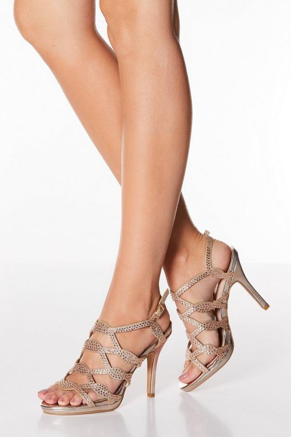 Rose Gold Diamante Stud High Heel Sandals