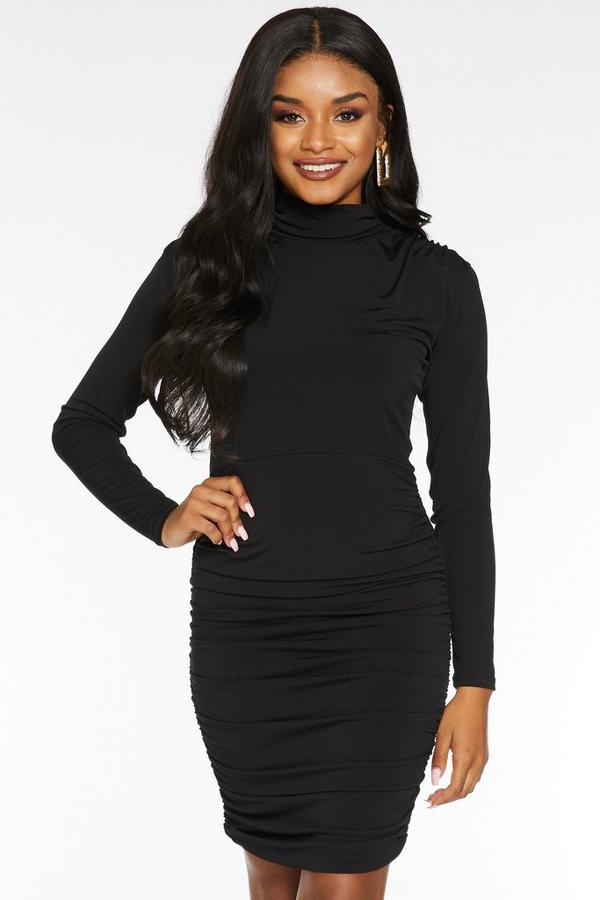 Petite Black Turtle Neck Ruched Bodycon Dress