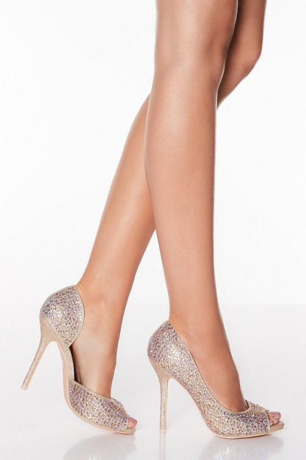 Rose Gold Shimmer Peep Toe High Heel Courts