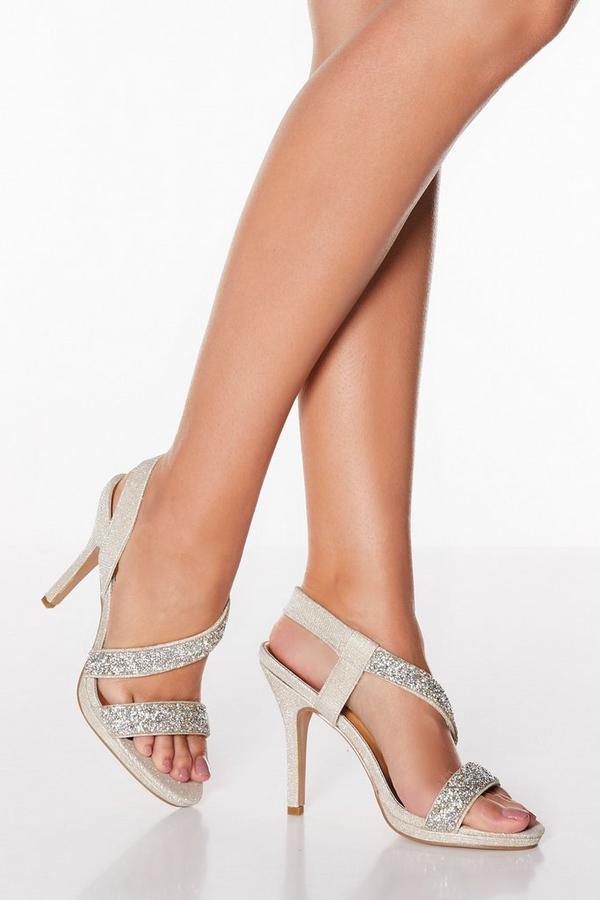 Gold Diamante Asymmetrical High Heel Sandals