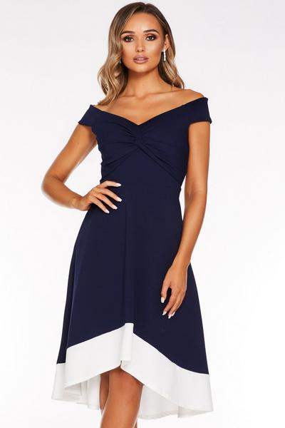 Navy and Cream Bardot Knot Front Dip Hem Dress