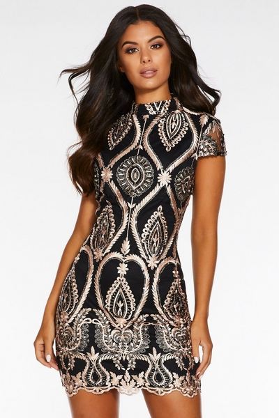 Rose Gold Sequin Embroidered High Neck Bodycon Dress