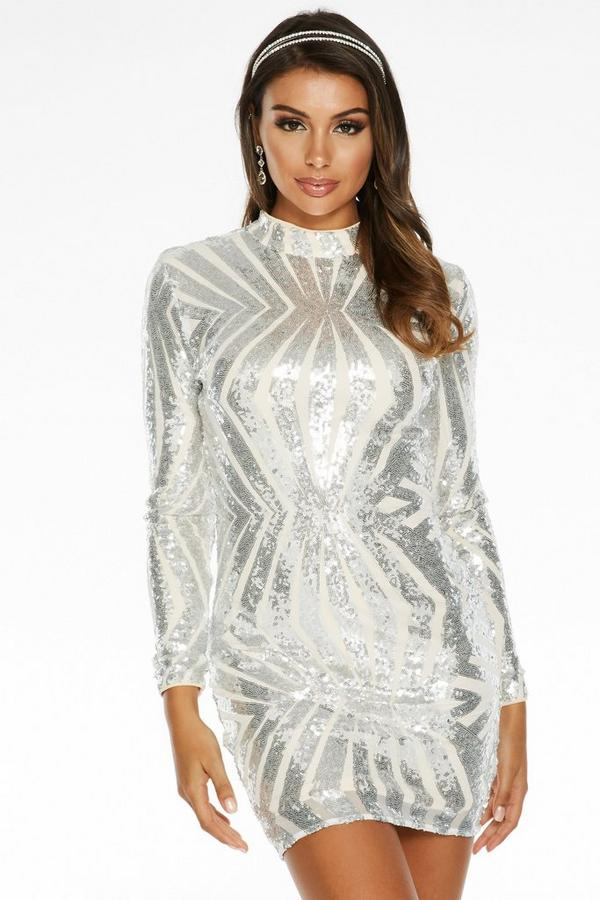 Silver Sequin Turtle Neck Bodycon Dress