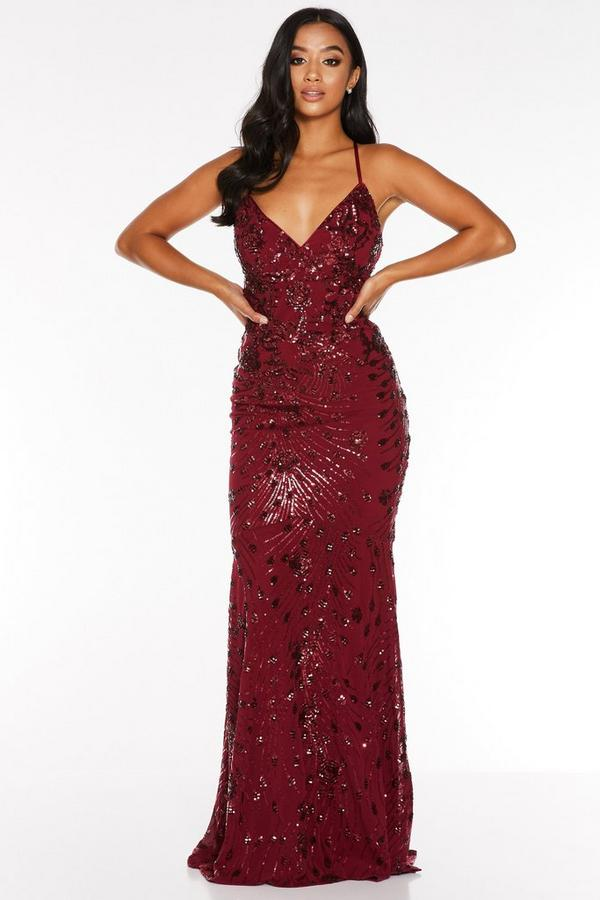 Petite Berry Sequin Backless Fishtail Maxi Dress
