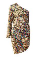 Vestido Asimétrico Multicolor con Lentejuelas