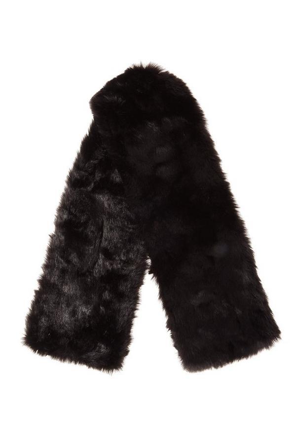 Black Faux Fur Scarf
