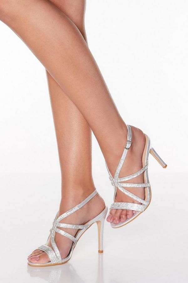 Silver Diamante Strappy Heeled Sandals
